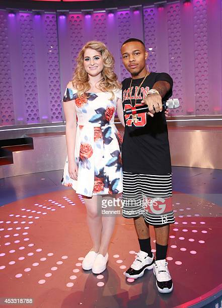 Recording artist Meghan Trainor and 106 Park host Shad Moss attend 106 Park at BET studio on August 6 2014 in New York City
