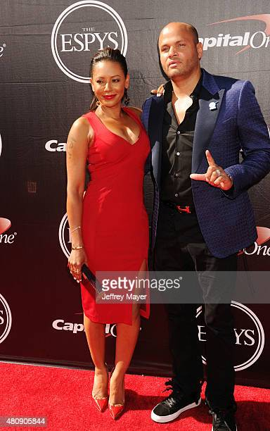 Recording artist Mel B and producer Stephen Belafonte arrive at the The 2015 ESPYS at Microsoft Theater on July 15 2015 in Los Angeles California
