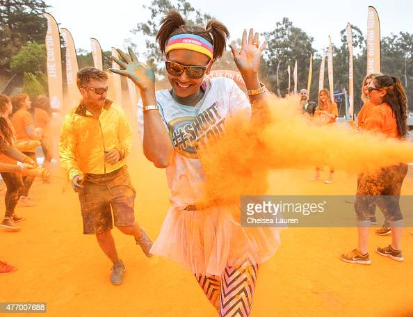 Recording artist Mel B gets messy while running The Color Run sponsored by Shout® at Dodger Stadium on June 13 2015 in Los Angeles California