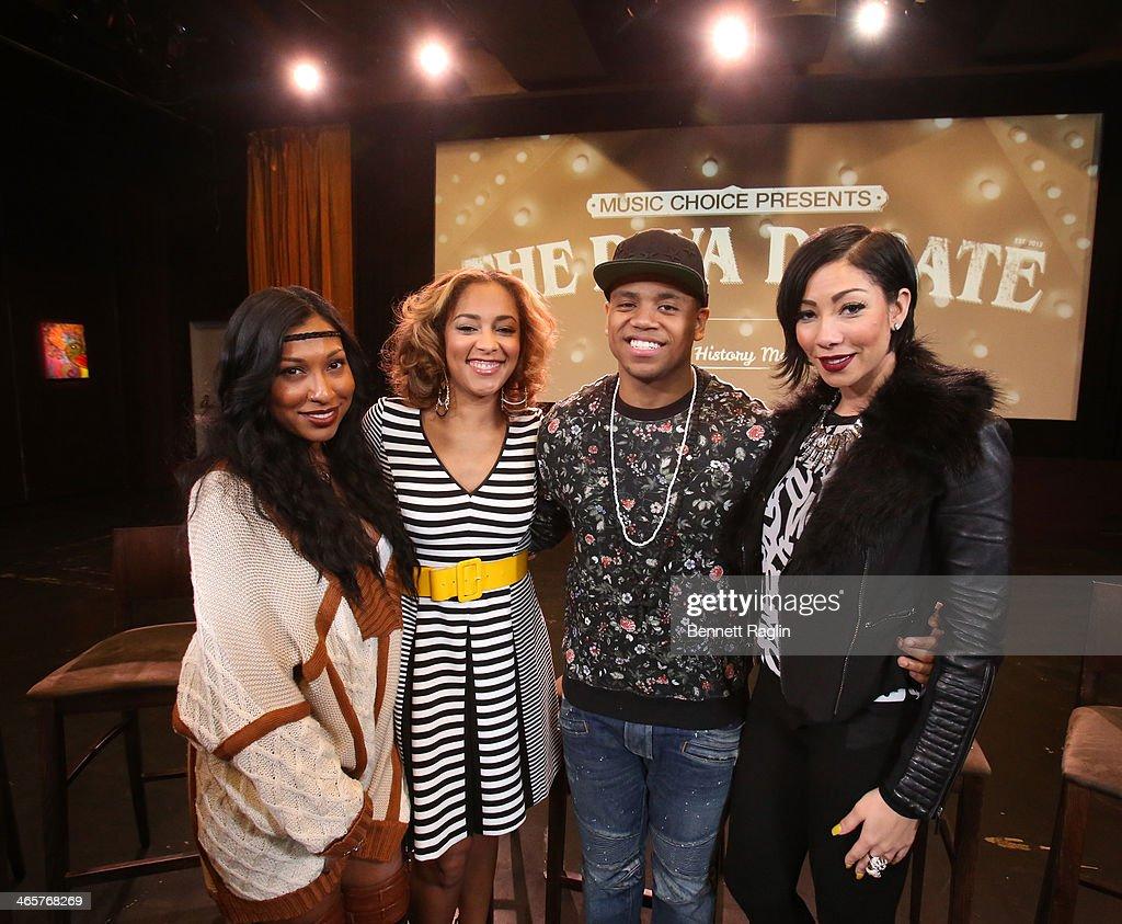 Recording artist Melanie Fiona Amanda Seales recording artist Mack Wilds and recording artist Bridget Kelly attend Music Choice Celebrates Black...