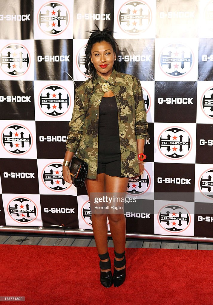 Recording artist Melanie Fiona attends G-Shock - Shock The World 2013 at Basketball City - Pier 36 - South Street on August 7, 2013 in New York City.