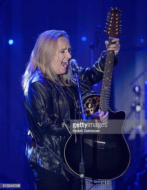 Recording artist Melissa Etheridge performs onstage during the 2016 PreGRAMMY Gala and Salute to Industry Icons honoring Irving Azoff at The Beverly...