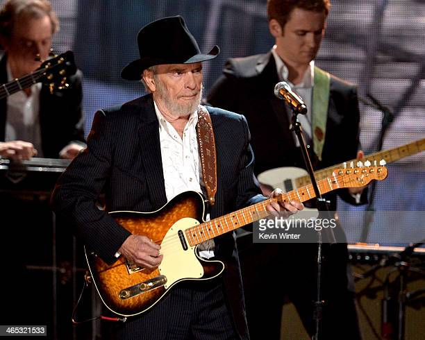 Recording artist Merle Haggard performs onstage during the 56th GRAMMY Awards at Staples Center on January 26 2014 in Los Angeles California