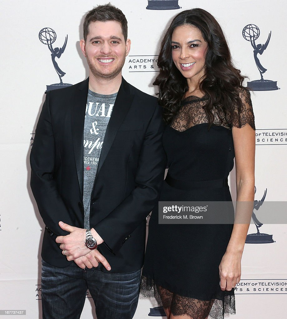 Recording artist <a gi-track='captionPersonalityLinkClicked' href=/galleries/search?phrase=Michael+Buble&family=editorial&specificpeople=215140 ng-click='$event.stopPropagation()'>Michael Buble</a> (L) and television reporter <a gi-track='captionPersonalityLinkClicked' href=/galleries/search?phrase=Terri+Seymour&family=editorial&specificpeople=226697 ng-click='$event.stopPropagation()'>Terri Seymour</a> attend the Academy of Television Arts & Sciences' Presents an Evening with <a gi-track='captionPersonalityLinkClicked' href=/galleries/search?phrase=Michael+Buble&family=editorial&specificpeople=215140 ng-click='$event.stopPropagation()'>Michael Buble</a> at the Wadsworth Theater on April 28, 2013 in Los Angeles, California.