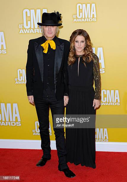 Recording Artist Michael Lockwood and Lisa Marie Presley attend the 46th annual CMA Awards at the Bridgestone Arena on November 1 2012 in Nashville...