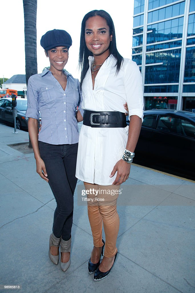 Recording Artist Michelle Williams and Celebrity Blogger B Scott pose for his new radio show at Foxxhole Sirius/XM Radio on April 19 2010 in Los...