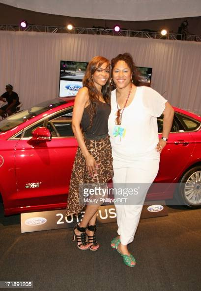 Recording artist Michelle Williams and manager of Brand Solutions/Integrated Marketing for BET Kimberly King attend Hot Spot Room Day 2 during the...
