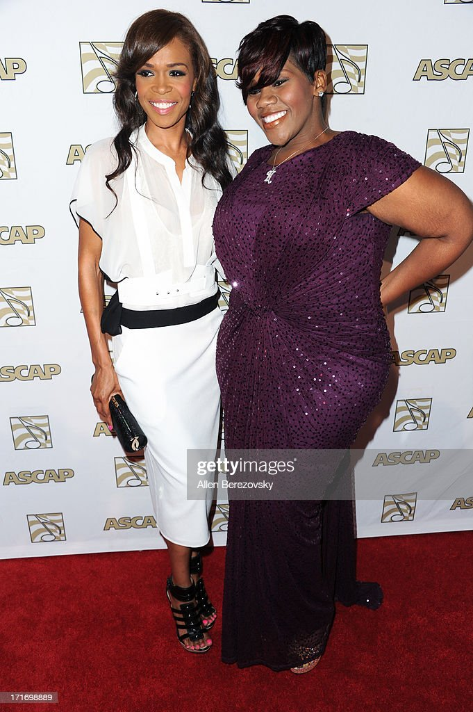 Recording artist Michelle Williams and recording artist Kelly Price arrive at ASCAP's 26th Annual Rhythm & Soul Music Awards at The Beverly Hilton Hotel on June 27, 2013 in Beverly Hills, California.