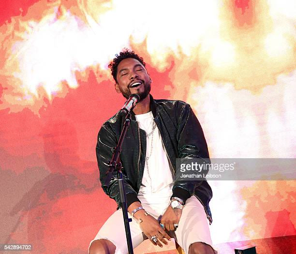Recording artist Miguel performs onstage at the Samsung Creator's Lounge at VidCon 2016 on June 23 2016 in Anaheim California