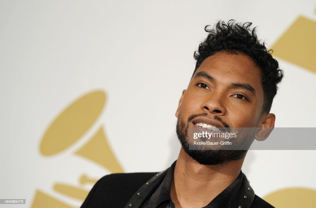 Recording artist Miguel poses in the press room at The GRAMMY Nominations Concert Live! Countdown To Music's Biggest Night at Nokia Theatre L.A. Live on December 6, 2013 in Los Angeles, California.