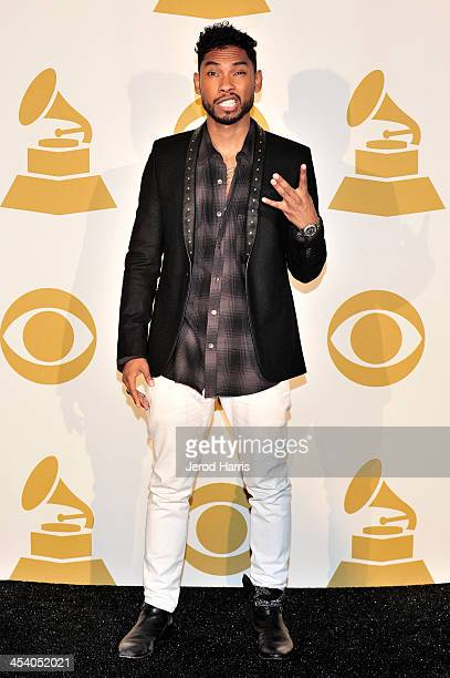 Recording artist Miguel poses in the press room during The GRAMMY Nominations Concert Live Countdown to Music's Biggest Night at Nokia Theatre LA...