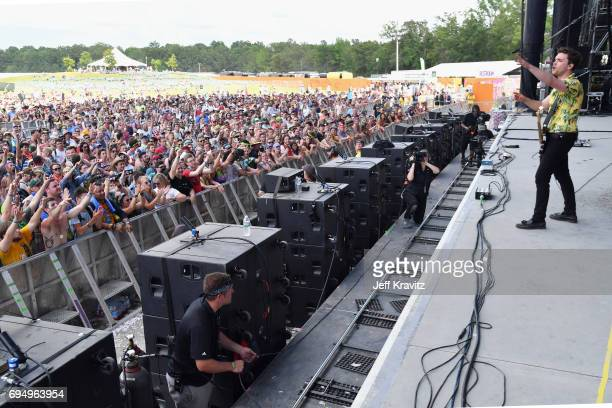 Recording artist Mike Kerr of Royal Blood performs onstage at What Stage during Day 4 of the 2017 Bonnaroo Arts And Music Festival on June 11 2017 in...