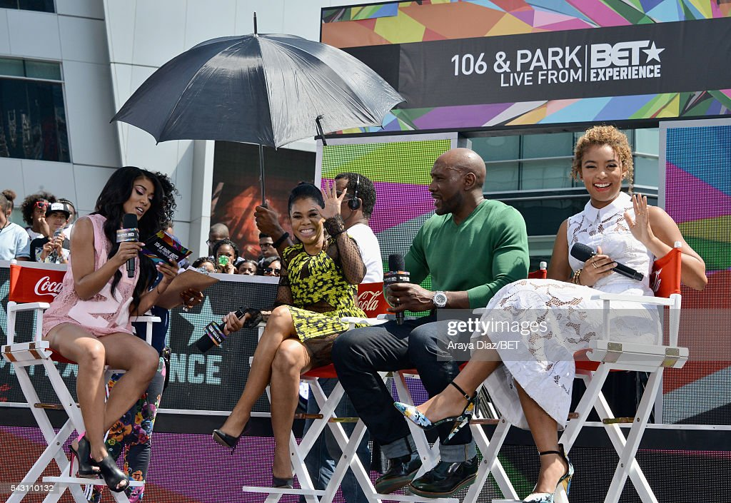 Recording artist Mila J, actress <a gi-track='captionPersonalityLinkClicked' href=/galleries/search?phrase=Regina+Hall&family=editorial&specificpeople=4509171 ng-click='$event.stopPropagation()'>Regina Hall</a>, actor <a gi-track='captionPersonalityLinkClicked' href=/galleries/search?phrase=Morris+Chestnut&family=editorial&specificpeople=707699 ng-click='$event.stopPropagation()'>Morris Chestnut</a> and actress <a gi-track='captionPersonalityLinkClicked' href=/galleries/search?phrase=Jaz+Sinclair&family=editorial&specificpeople=12705853 ng-click='$event.stopPropagation()'>Jaz Sinclair</a> speak onstage at 106 & Park Sponsored by Coca-Cola during the 2016 BET Experience on June 25, 2016 in Los Angeles, California.
