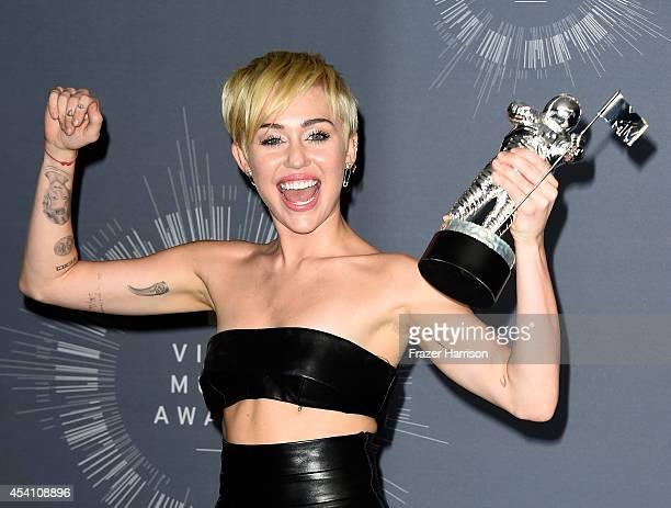 Recording artist Miley Cyrus poses in the press room during the 2014 MTV Video Music Awards at The Forum on August 24 2014 in Inglewood California