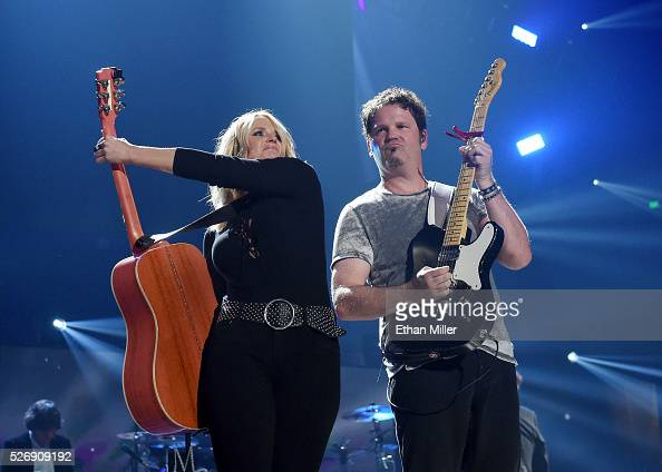 Recording artist Miranda Lambert and guitarist Alex Weeden perform during the 2016 iHeartCountry Festival at The Frank Erwin Center on April 30 2016...