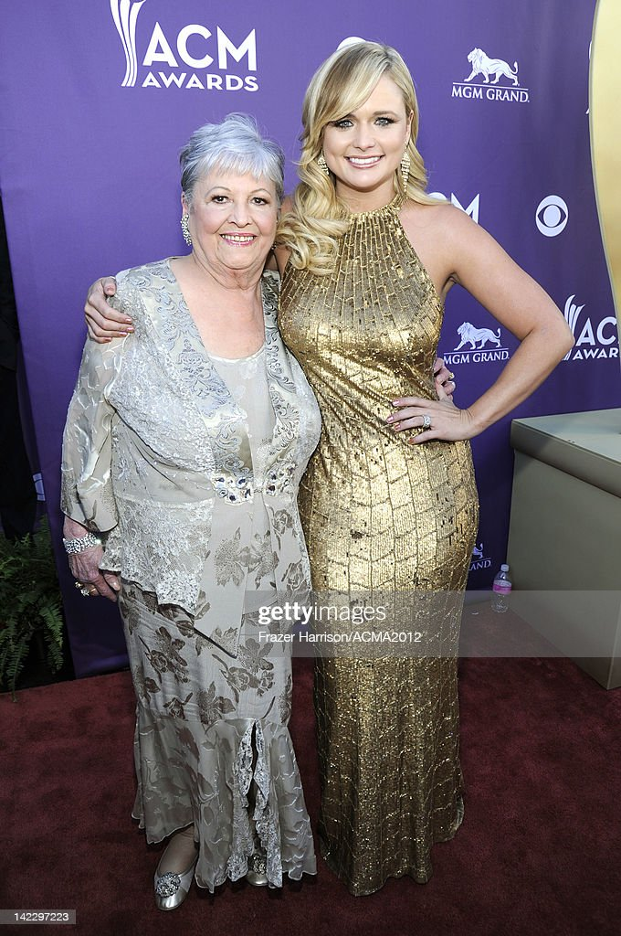 Recording artist <a gi-track='captionPersonalityLinkClicked' href=/galleries/search?phrase=Miranda+Lambert&family=editorial&specificpeople=571972 ng-click='$event.stopPropagation()'>Miranda Lambert</a> (R) and her grandmother arrive at the 47th Annual Academy Of Country Music Awards held at the MGM Grand Garden Arena on April 1, 2012 in Las Vegas, Nevada.