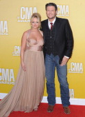 Recording artist Miranda Lambert and husband recording artist Blake Shelton attend the 46th annual CMA Awards at the Bridgestone Arena on November 1...