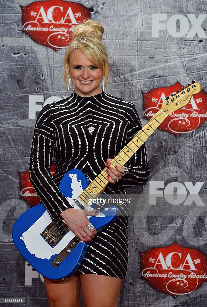 Recording artist Miranda Lambert poses in the press room with her award for Female Single of the Year during the 2012 American Country Awards at the Mandalay Bay Events Center on December 10, 2012 in Las Vegas, Nevada.