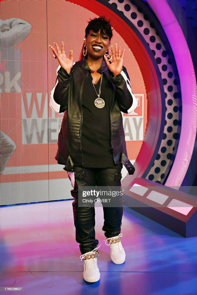Recording artist <a gi-track='captionPersonalityLinkClicked' href=/galleries/search?phrase=Missy+Elliott&family=editorial&specificpeople=202074 ng-click='$event.stopPropagation()'>Missy Elliott</a> poses on stage during BET's '106 and Park' at BET Studios on August 14, 2013 in New York City.