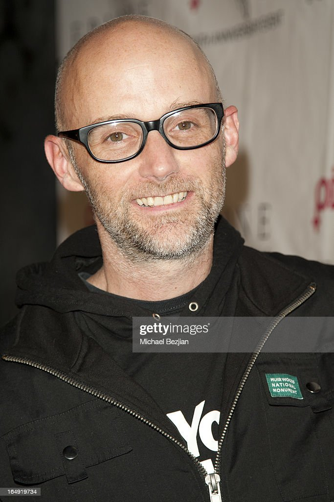 Recording artist Moby arrives at 'Pieces(Of Ass)' Opening Night Los Angeles Performance at The Fonda Theatre on March 28, 2013 in Los Angeles, California.