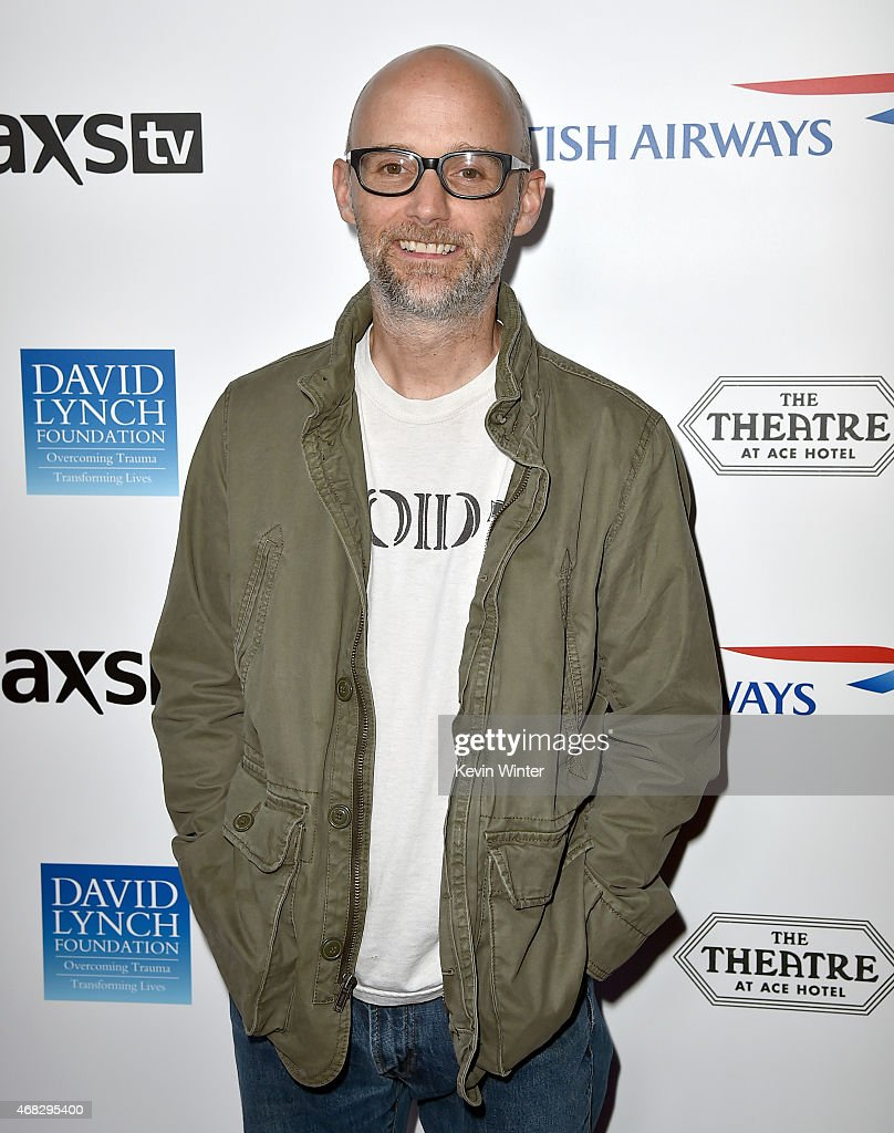 Recording artist <a gi-track='captionPersonalityLinkClicked' href=/galleries/search?phrase=Moby&family=editorial&specificpeople=203129 ng-click='$event.stopPropagation()'>Moby</a> attends the David Lynch Foundation's DLF Live presents 'The Music Of David Lynch' at The Theatre at Ace Hotel on April 1, 2015 in Los Angeles, California.