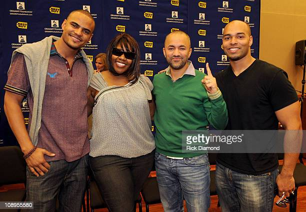 Recording artist Mohombi singer Kelly Price producer RedOne and Ray Parker lll attend GRAMMY Career Day at University of Southern California on...