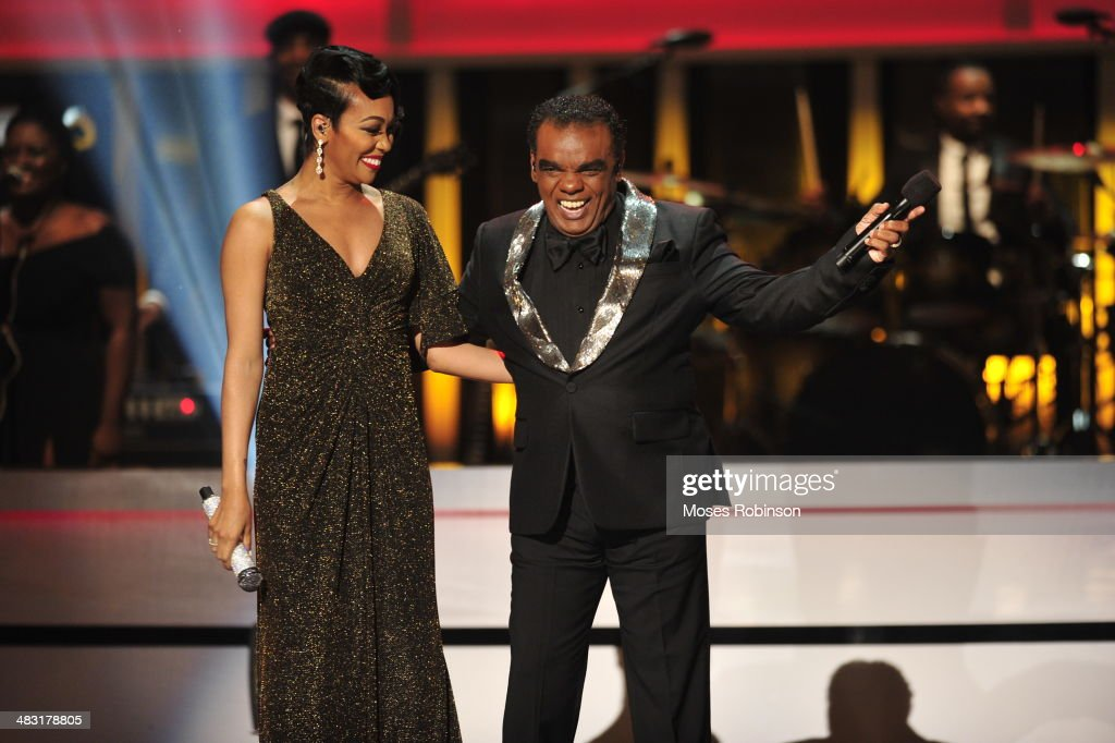 Recording Artist Monica and recording artist Ron Isley attend UNCF's 33rd annual An Evening With The Stars at Boisfeuillet Jones Atlanta Civic Center...
