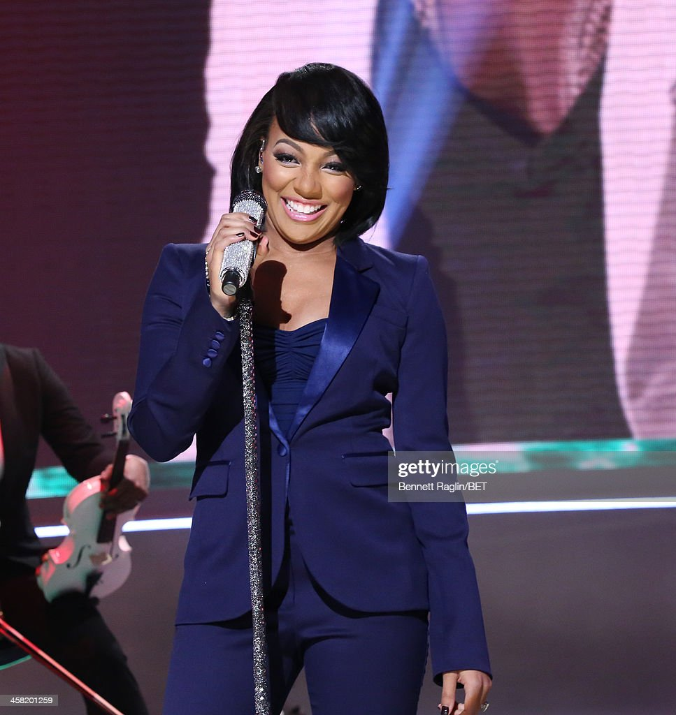 Recording artist Monica performs during 106 Park at BET studio on December 19 2013 in New York City