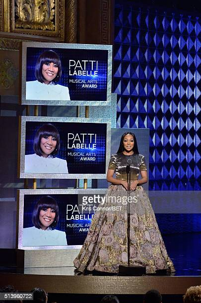 Recording artist Monica speaks on stage during the BET Honors 2016 Show at Warner Theatre on March 5 2016 in Washington DC