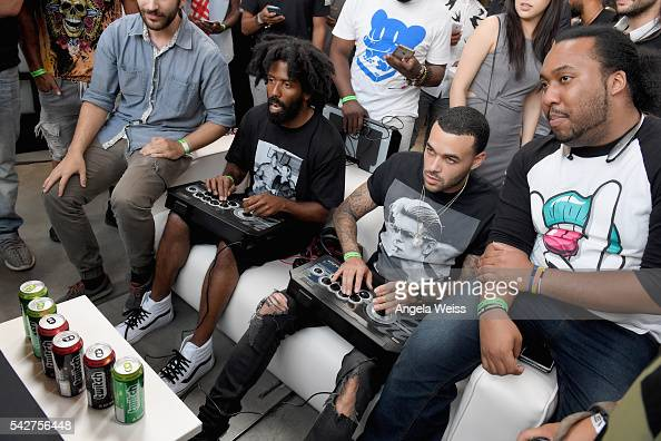 Recording artist Murs and model/recording artist Don Benjamin attend Next Level Presented By AMP Energy A Hip Hop Gaming Tournament at Rostrum...