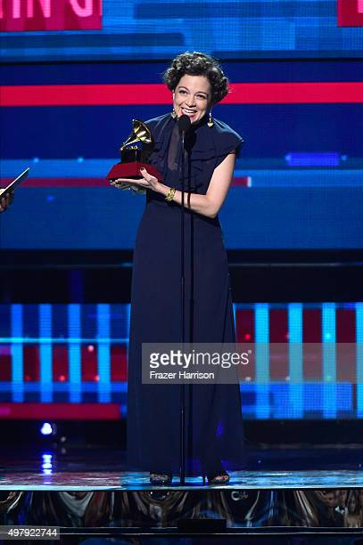 Recording artist Natalia Lafourcade accepts the Record of the Year award for 'Hasta la Raiz' onstage during the 16th Latin GRAMMY Awards at the MGM...