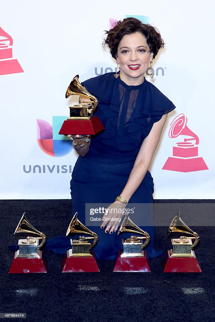 Recording artist Natalia Lafourcade, winner of the Record of the Year award for 'Hasta la Raiz', poses in the press room during the 16th Latin GRAMMY Awards at the MGM Grand Garden Arena on November 19, 2015 in Las Vegas, Nevada.