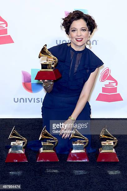 Recording artist Natalia Lafourcade winner of the Record of the Year award for 'Hasta la Raiz' poses in the press room during the 16th Latin GRAMMY...