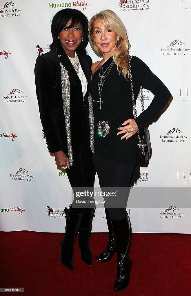 Recording artist <a gi-track='captionPersonalityLinkClicked' href=/galleries/search?phrase=Natalie+Cole&family=editorial&specificpeople=201839 ng-click='$event.stopPropagation()'>Natalie Cole</a> (L) and actress <a gi-track='captionPersonalityLinkClicked' href=/galleries/search?phrase=Linda+Thompson+-+Actress&family=editorial&specificpeople=13681123 ng-click='$event.stopPropagation()'>Linda Thompson</a> attend the Kentucky Derby Prelude Party at The London West Hollywood on January 10, 2013 in West Hollywood, California.