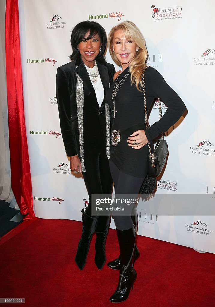 Recording Artist <a gi-track='captionPersonalityLinkClicked' href=/galleries/search?phrase=Natalie+Cole&family=editorial&specificpeople=201839 ng-click='$event.stopPropagation()'>Natalie Cole</a> (L) and Actress <a gi-track='captionPersonalityLinkClicked' href=/galleries/search?phrase=Linda+Thompson+-+Actress&family=editorial&specificpeople=13681123 ng-click='$event.stopPropagation()'>Linda Thompson</a> (R) attend the Los Angeles Unbridled Derby prelude party at The London Hotel on January 10, 2013 in West Hollywood, California.