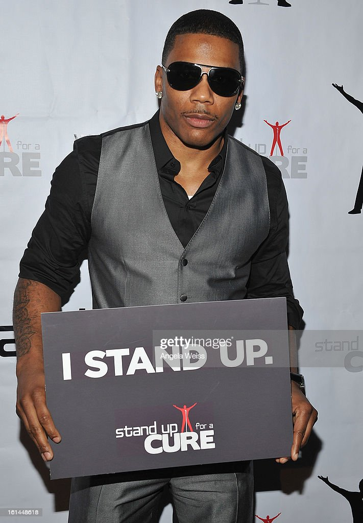 Recording artist <a gi-track='captionPersonalityLinkClicked' href=/galleries/search?phrase=Nelly+-+Rapper&family=editorial&specificpeople=11499081 ng-click='$event.stopPropagation()'>Nelly</a> attends the Stand Up For A Cure 2013 Concert Series and Republic Records Grammy Party at The Emerson Theatre on February 10, 2013 in Hollywood, California.