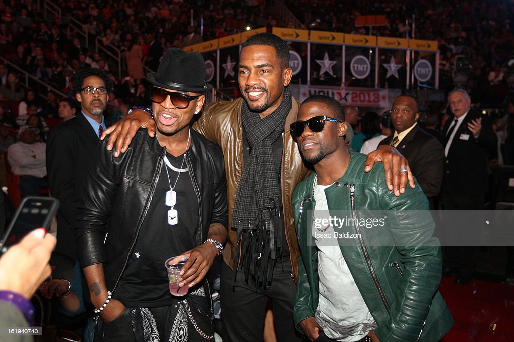 Recording artist, Ne-Yo, MTV's Bill Bellamy, and comedian Kevin Hart pose for a picture after the 2013 NBA All-Star Game on February 17, 2013 at Toyota Center in Houston, Texas.