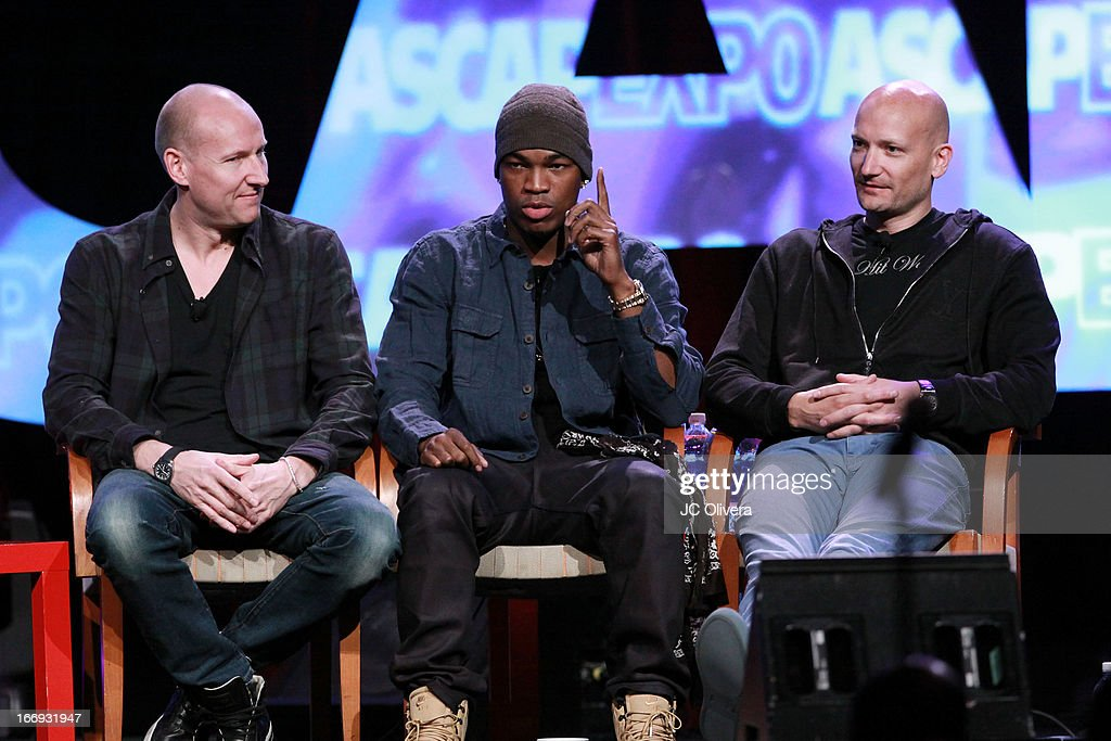 Recording artist Ne-Yo (C), producers Mikkel Eriksen (L) and Tor Hermansen of Stargate speak at the 8th Annual ASCAP 'I Create Music' EXPO at Loews Hollywood Hotel on April 18, 2013 in Hollywood, California.