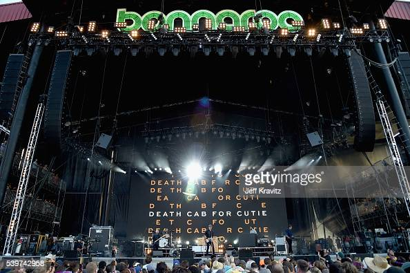 Recording artist Nicholas Harmer Jason McGerr and Benjamin Gibbard of Death Cab for Cutie performs onstage at What Stage during Day 4 of the 2016...