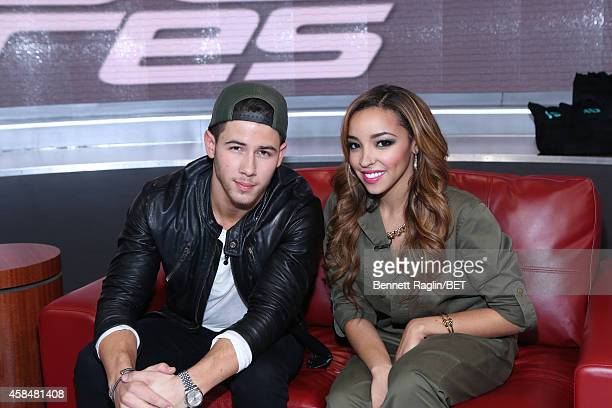 Recording artist Nick Jonas and Tinashe attend 106 Park at BET studio on November 5 2014 in New York City
