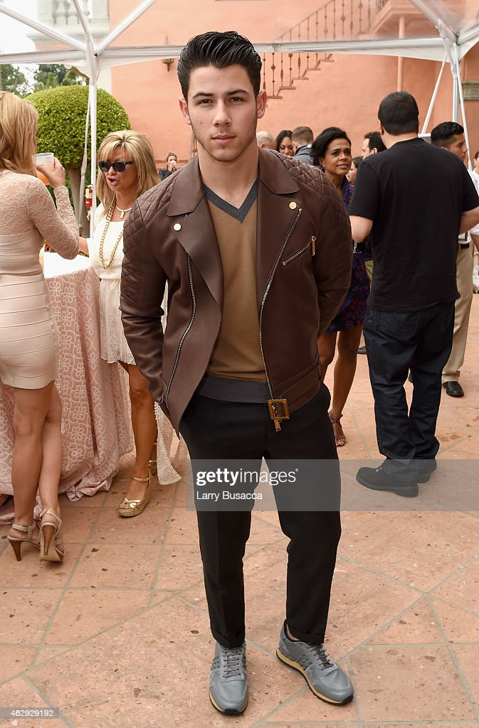 Recording artist <a gi-track='captionPersonalityLinkClicked' href=/galleries/search?phrase=Nick+Jonas&family=editorial&specificpeople=842713 ng-click='$event.stopPropagation()'>Nick Jonas</a> attends Roc Nation and Three Six Zero Pre-GRAMMY Brunch 2015 at Private Residence on February 7, 2015 in Beverly Hills, California.