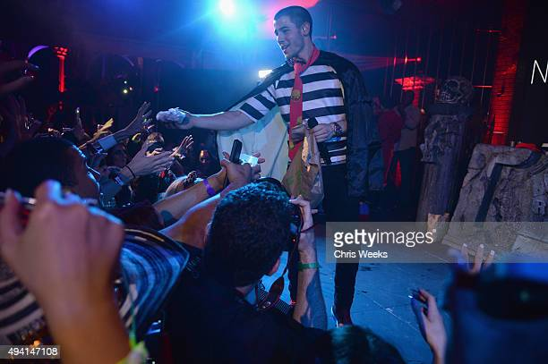 Recording artist Nick Jonas performs onstage at the Maxim Halloween Party Presented By Karma International on October 24 2015 in Los Angeles...