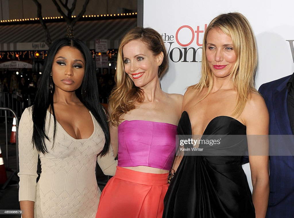 Recording artist Nicki Minaj, actors Leslie Mann and Cameron Diaz attend the premiere of Twentieth Century Fox's 'The Other Woman' at Regency Village Theatre on April 21, 2014 in Westwood, California.