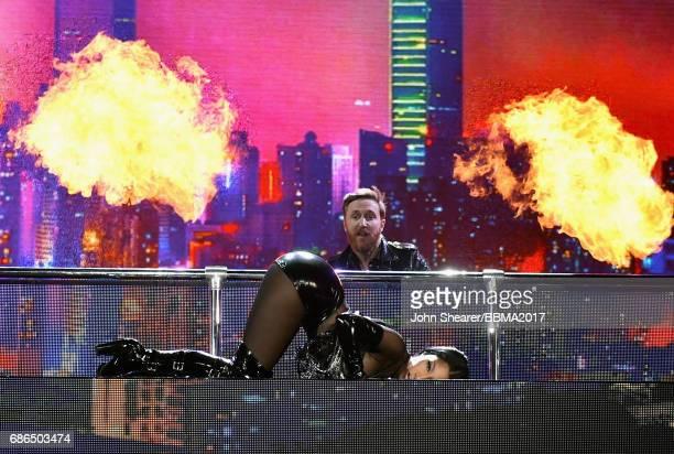Recording artist Nicki Minaj and DJ David David Guetta perform onstage during the 2017 Billboard Music Awards at TMobile Arena on May 21 2017 in Las...