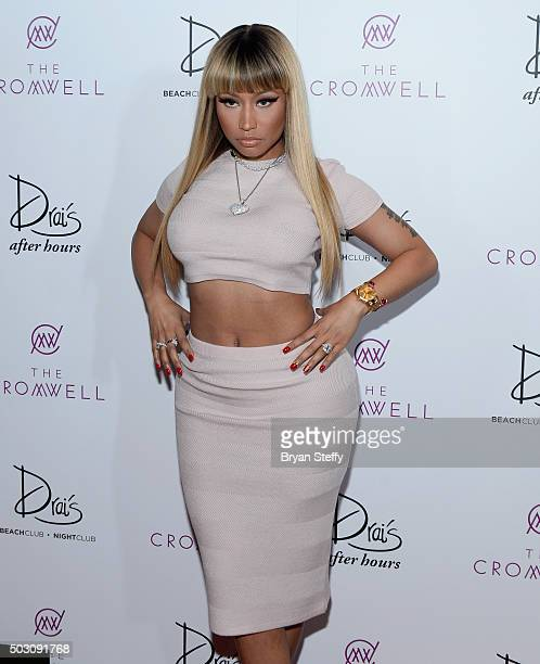 Recording artist Nicki Minaj arrives at Drai's Beach Club Nightclub at the Cromwell Las Vegas for a New Year's Eve performance on December 31 2015 in...
