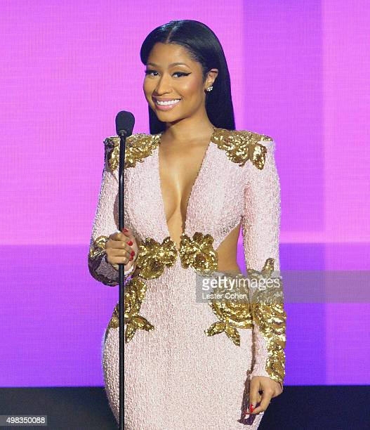 Recording artist Nicki Minaj speaks onstage during the 2015 American Music Awards at Microsoft Theater on November 22 2015 in Los Angeles California