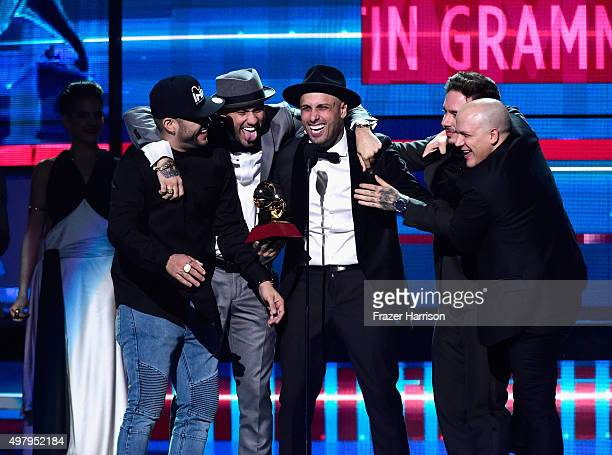 Recording artist Nicky Jam accepts the Best Urban Performance award for 'El Perdon' onstage during the 16th Latin GRAMMY Awards at the MGM Grand...