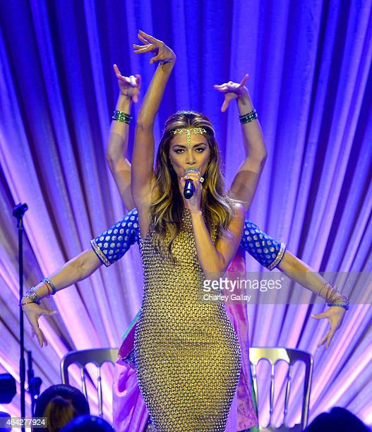 Recording artist Nicole Scherzinger performs onstage during The Weinstein Company's Academy Awards Nominees Dinner in partnership with Chopard DeLeon...