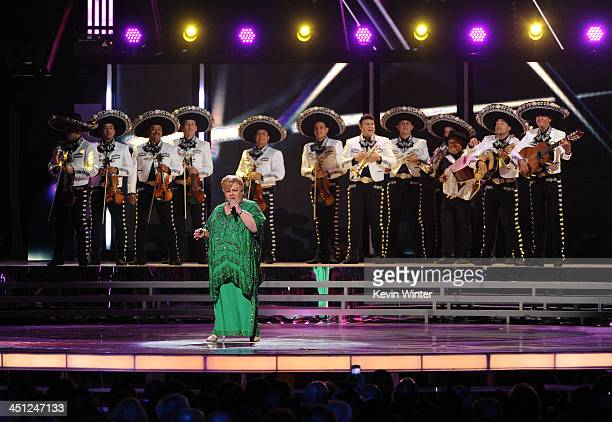 Recording artist Paquita la del Barrio and Mariachi Sol De Mexico de Jose Hernandez perform onstage during The 14th Annual Latin GRAMMY Awards at the...