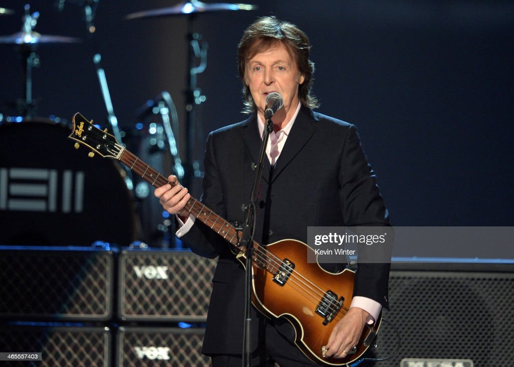 Recording artist <a gi-track='captionPersonalityLinkClicked' href=/galleries/search?phrase=Paul+McCartney&family=editorial&specificpeople=92298 ng-click='$event.stopPropagation()'>Paul McCartney</a> performs onstage during 'The Night That Changed America: A GRAMMY Salute To The Beatles' at the Los Angeles Convention Center on January 27, 2014 in Los Angeles, California.
